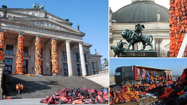 Σωσίβια προσφύγων κρέμασαν στο Βερολίνο