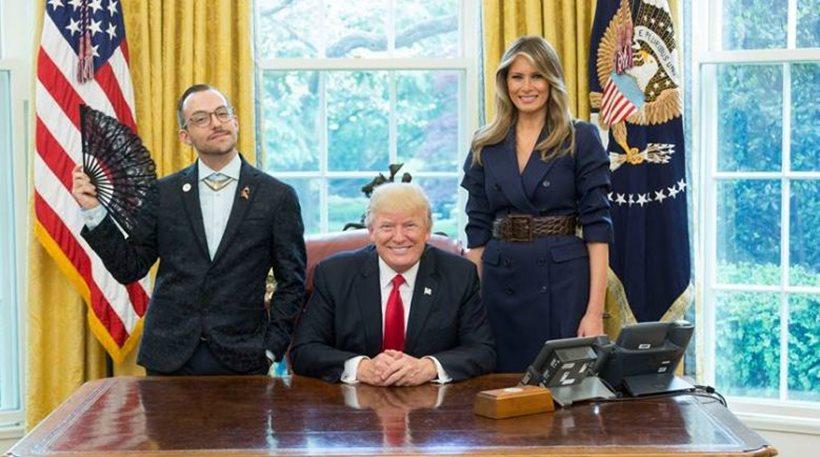 Άνοιξε την βεντάλια του και χαμογέλασε στον Τραμπ ο Έλληνας γκέι «δάσκαλος της χρονιάς»