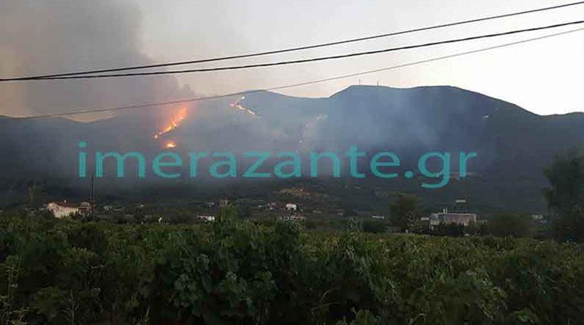 Ζάκυνθος: Ανεξέλεγκτη η πυρκαγιά στο όρος Βραχίωνα
