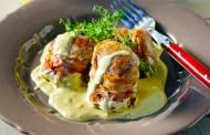 Ψητό ψαρονέφρι με μπέικον και σάλτσα μουστάρδας