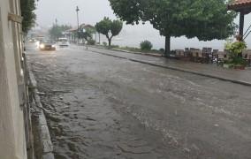 Καταστροφικό μπουρίνι στον Βόλο: Πλημμύρες, εγκλωβισμένα αυτοκίνητα και δέντρα πεσμένα